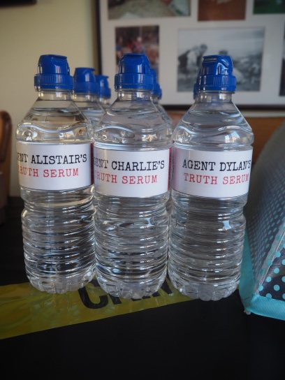 'Truth Serum' water! (labels were covered in sticky back plastic so they wouldn't run)